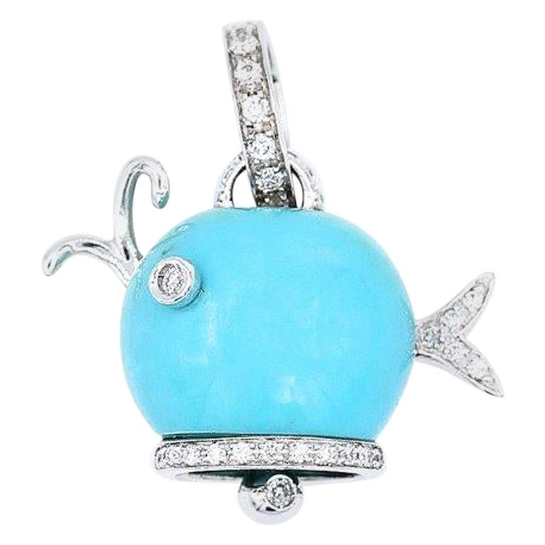 Chantecler 18 Karat Gold and Turquoise Whale Charm For Sale
