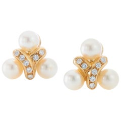 Chantecler 18 Karat Gold Ladies Freshwater Pearl and Diamond Clip-On Earrings