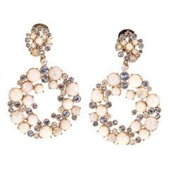 Chantecler 18 Karat Gold White Coral Labradorite Sapphire Diamonds Earrings