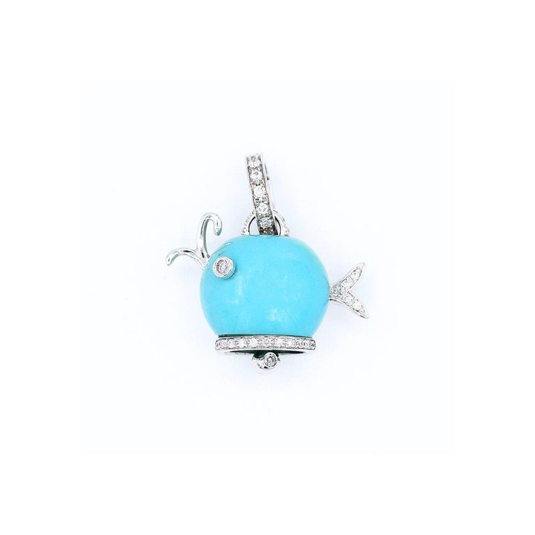 Turquoise whale charm in 18k white gold with diamond accents. Made in Italy by Chantecler.