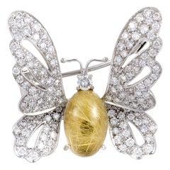 Chantecler 2.23 Carat Diamond and Rutilated Quartz White Gold Butterfly Brooch
