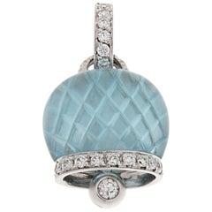 CHANTECLER Bell Charm in 18K White Gold Diamonds Pavé and Blue Topaz