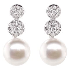 Chantecler 'Bon Bon' Freshwater Pearl and Diamond 18 Karat White Gold Earrings
