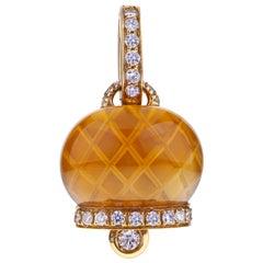 Chantecler Campanella 18kt Gold Pendant with Citrine Quartz and Diamonds, Unique