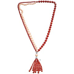 "Chantecler Capri 18 Karat White Gold, Diamond Red and Pink Coral ""Cherie"" Tassel"