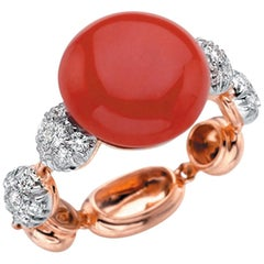 Chantecler Capri Bon Bon White Rose Gold Red Coral Diamonds Ring