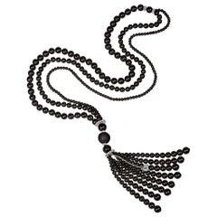 Chantecler Cherie Black Onyx and Diamond Tassel Necklace