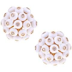 Chantecler Dandelion 18 Karat Gold and Kogolong Earrings with Diamonds