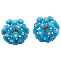 Chantecler Dandelion 18 Karat Gold and Turquoise Earrings