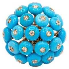 Chantecler Dandelion 18 Karat Gold and Turquoise Ring