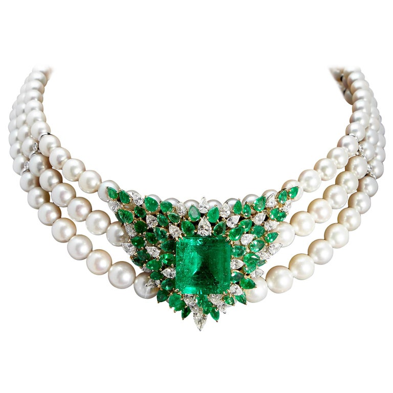 Chantecler Emerald Diamonds Pearl Necklace For Sale