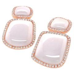 Chantecler Enchanté Kogolong and Diamond 18 Karat Rose Gold Drop Earrings