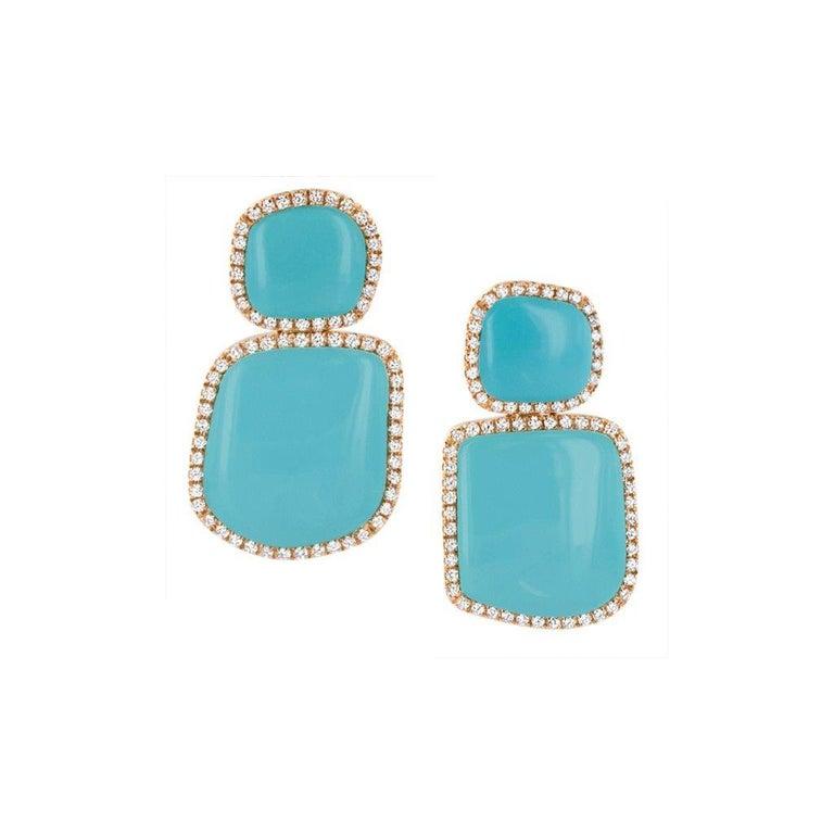 Enchantè short pendant earrings in 18k yellow gold, turquoise and diamonds.