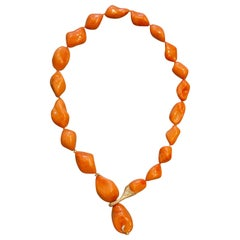 Chantecler of Capri Italian Natural Coral Diamond Gold Necklace