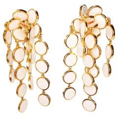 "Chantecler ""Pailletes"" Pink Enamel Petals in 18 Karat Gold Earrings"