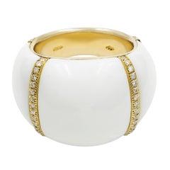 Chantecler White Ceramic 18 Karat Yellow Gold Diamond Ring