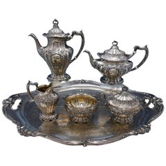 Chantilly by Gorham Sterling Silver Tea Set 5-Piece Hand Chased with SP Tray