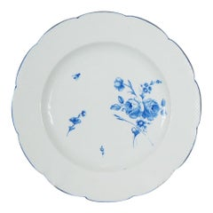 Chantilly Plate with Blue Flowers & Insects, C. 1770