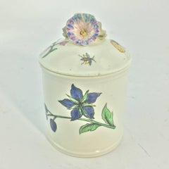 Chantilly Pomade Pot with Rare Holzschnittblumen 'Woodcut Flowers' after Meissen