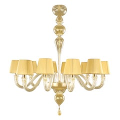 Chandelier 10 arms Gold Murano Glass, Amber Lampshades Chapeau by Multiforme