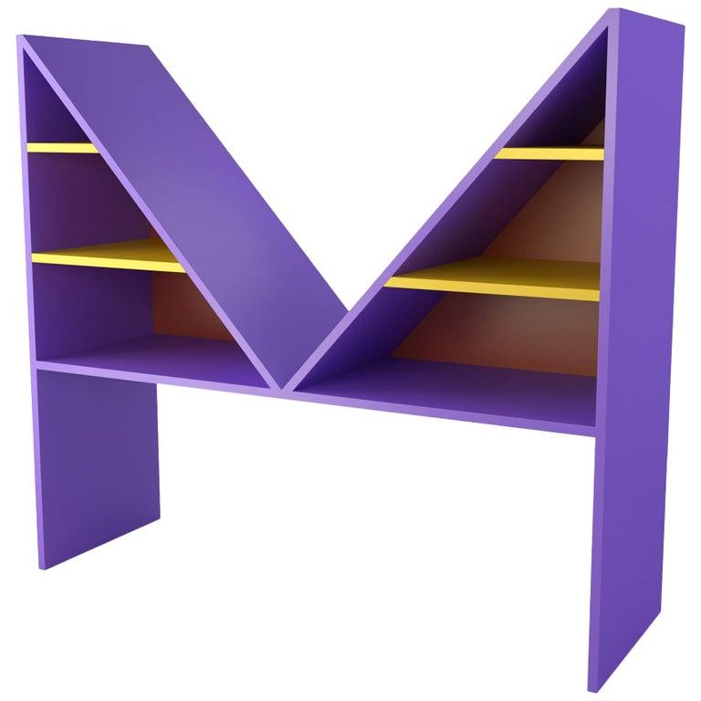 Contemporary Bookcase Purple Bikini Wood by Chapel Petrassi For Sale