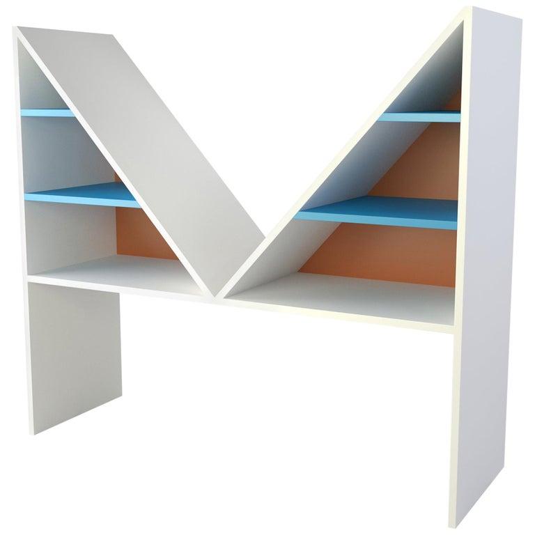 Contemporary Bookcase Bikini White Lacquered Wood by Chapel Petrassi For Sale