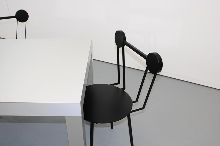 Italian Chapel Petrassi Contemporary Chair Black Haly Aluminium  For Sale