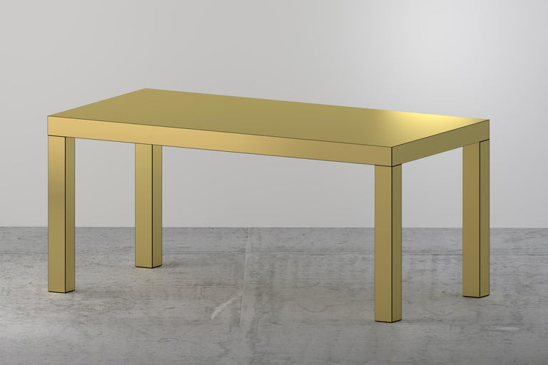 Italian Contemporary Table/Desk Brushed Gold Hitan Aluminium by Chapel Petrassi For Sale