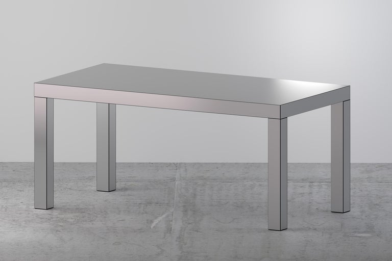 Wood Contemporary Table/Desk Brushed Gold Hitan Aluminium by Chapel Petrassi For Sale