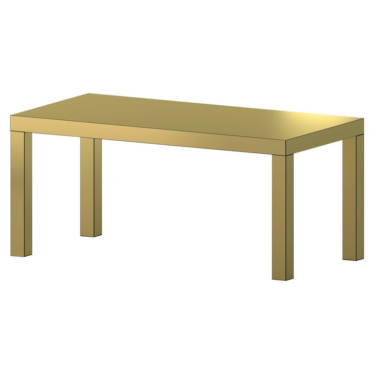 Contemporary Table/Desk Brushed Gold Hitan Aluminium by Chapel Petrassi For Sale