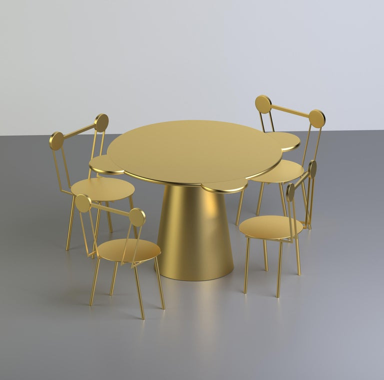 Arts and Crafts Contemporary Table Donald Gold Lacquered Wood by Chapel Petrassi For Sale