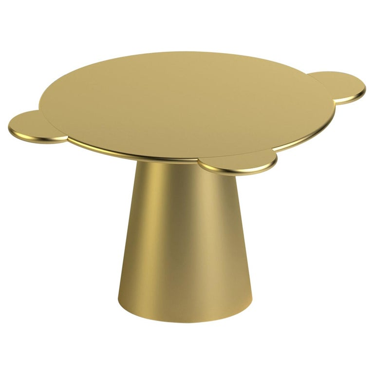 Contemporary Table Donald Gold Lacquered Wood by Chapel Petrassi For Sale
