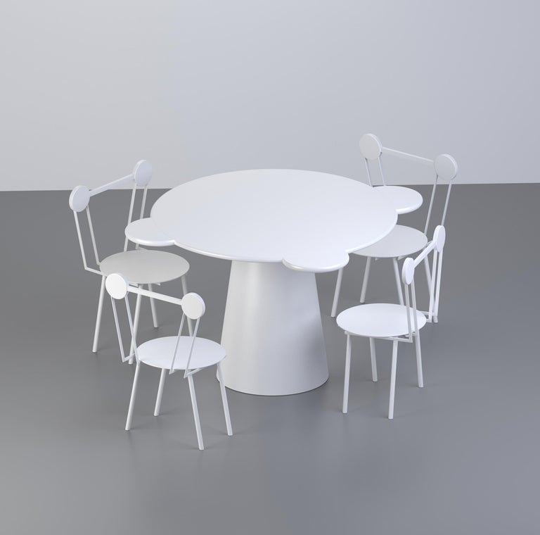 Arts and Crafts Chapel Petrassi Contemporary Table White Donald Lacquered Wood For Sale