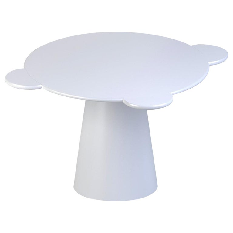 Contemporary Table Donald White Lacquered Wood by Chapel Petrassi For Sale