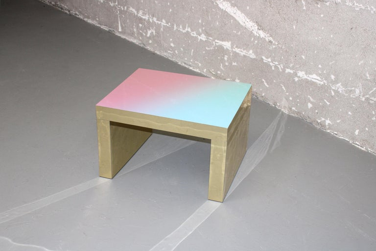 Other Gradient Bench/Coffee Table Light Blue-Rose Gaby Aluminium by Chapel Petrassi For Sale
