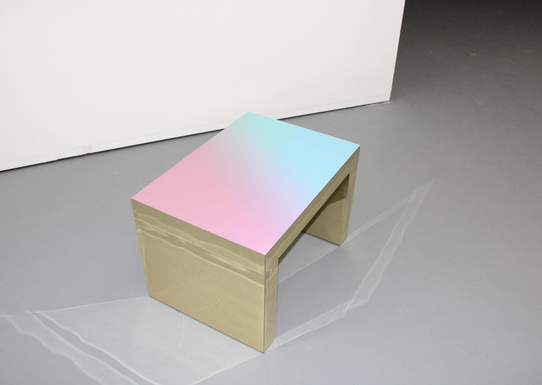 Hand-Crafted Gradient Bench/Coffee Table Light Blue-Rose Gaby Aluminium by Chapel Petrassi For Sale