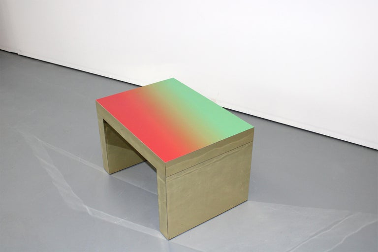 Other Gradient Bench/Coffee Table Red-Green Gaby Aluminium by Chapel Petrassi For Sale