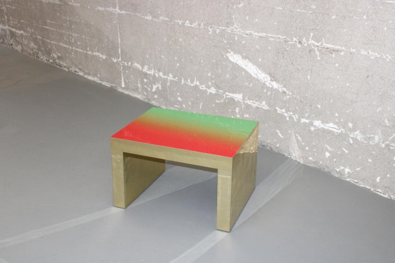 Italian Gradient Bench/Coffee Table Red-Green Gaby Aluminium by Chapel Petrassi For Sale