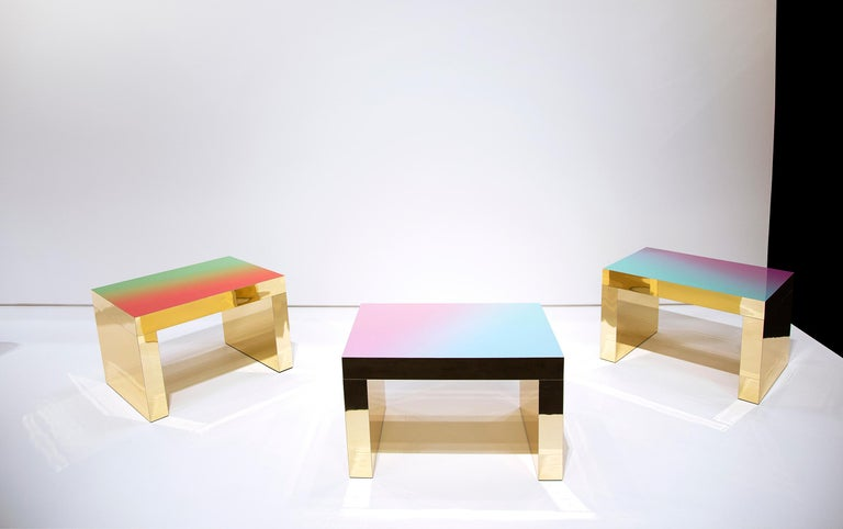 Contemporary Gradient Bench/Coffee Table Red-Green Gaby Aluminium by Chapel Petrassi For Sale