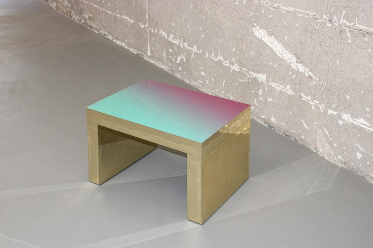 Hand-Crafted Gradient Bench/Coffee Table Violet-Azure Gaby Aluminium by Chapel Petrassi For Sale