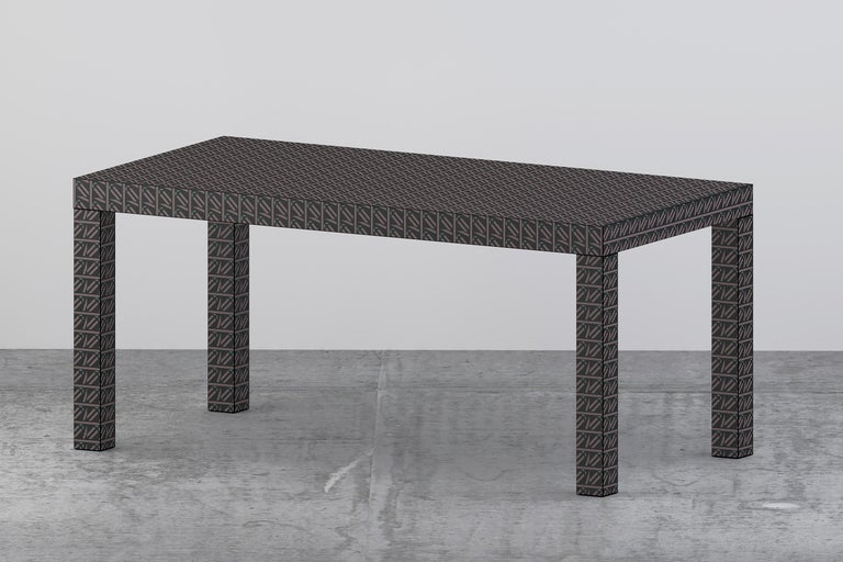 Graphic Table/Desk Black Hitan Wood and Laminates by Chapel Petrassi For Sale 3