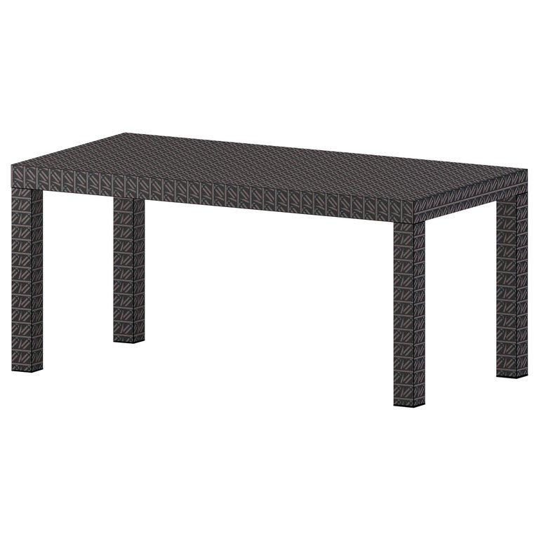 Graphic Table/Desk Black Hitan Wood and Laminates by Chapel Petrassi For Sale