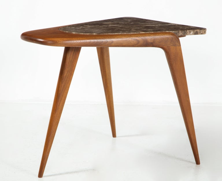 Chaplin End Table in Wood & Stone Offered by Vladimir Kagan Design Group For Sale 4
