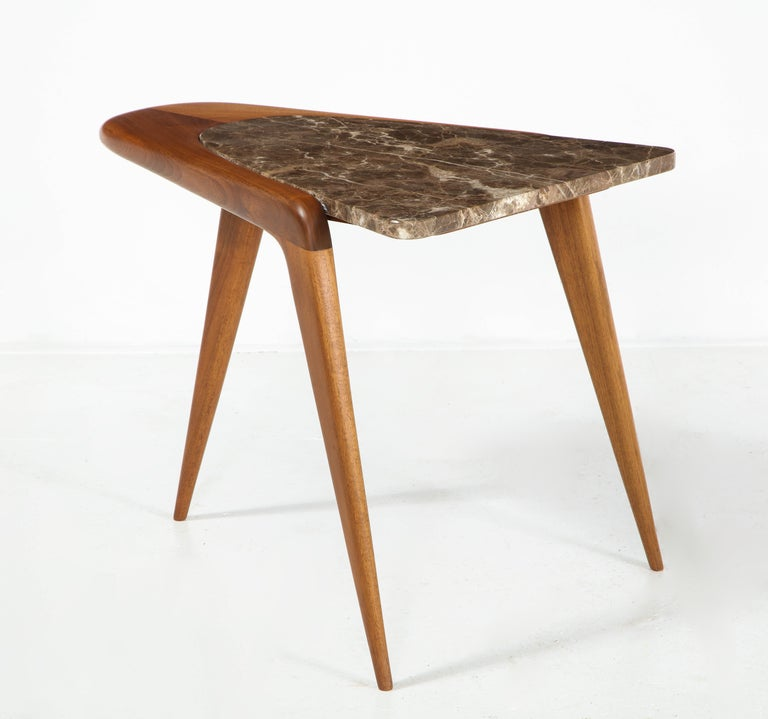 Chaplin End Table in Wood & Stone Offered by Vladimir Kagan Design Group For Sale 6