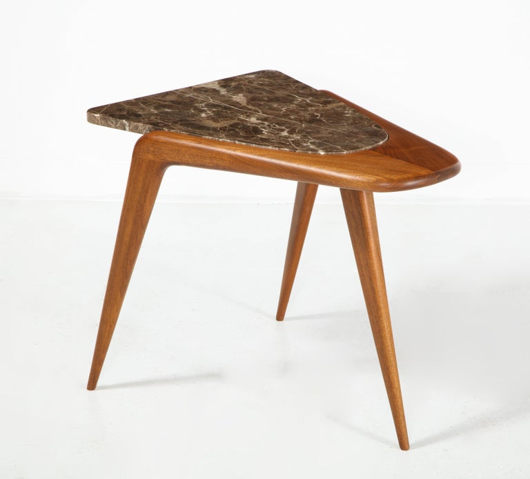Modern Chaplin End Table in Wood & Stone Offered by Vladimir Kagan Design Group For Sale