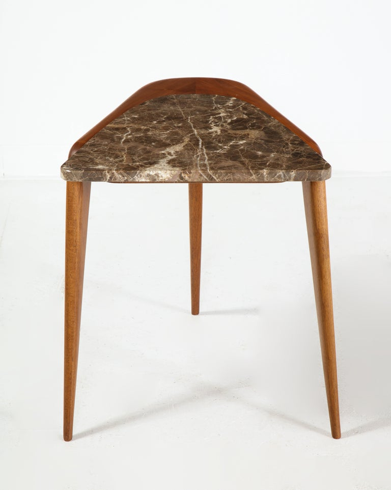 American Chaplin End Table in Wood & Stone Offered by Vladimir Kagan Design Group For Sale
