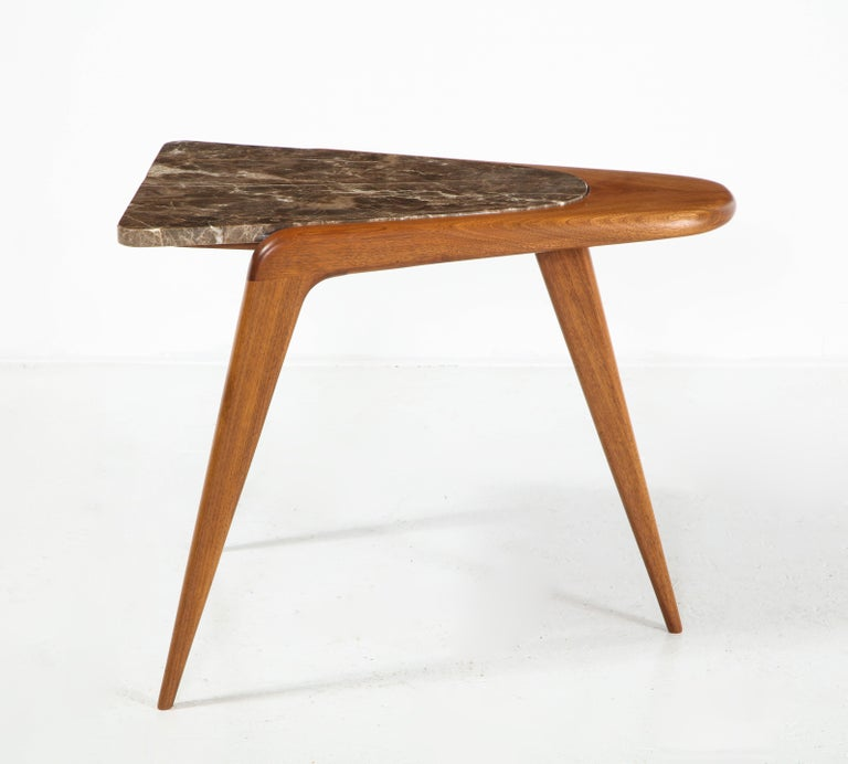 Contemporary Chaplin End Table in Wood & Stone Offered by Vladimir Kagan Design Group For Sale
