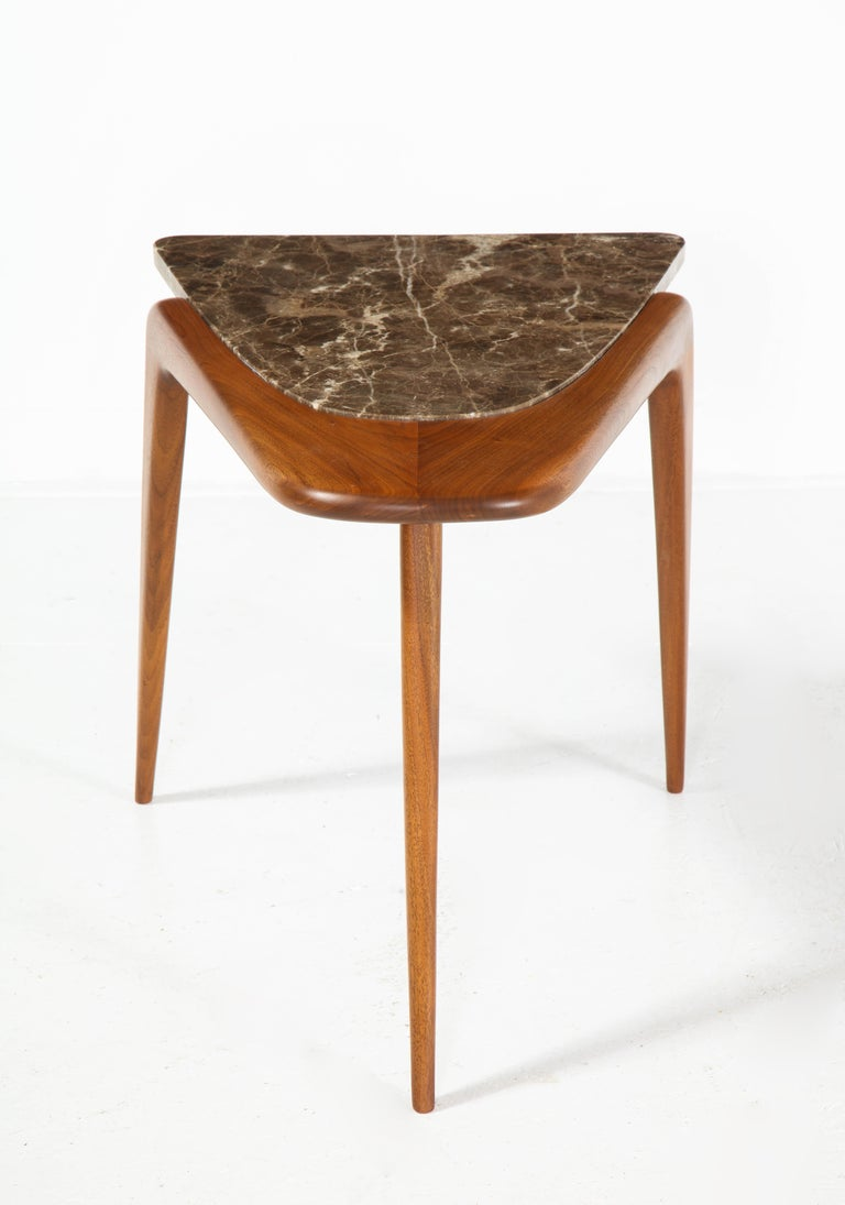 Chaplin End Table in Wood & Stone Offered by Vladimir Kagan Design Group For Sale 2