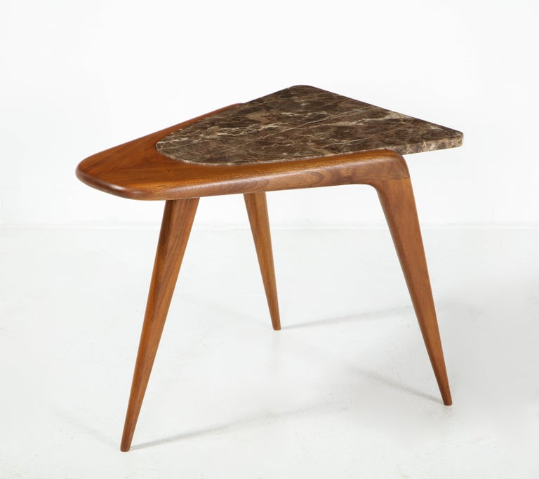Chaplin End Table in Wood & Stone Offered by Vladimir Kagan Design Group For Sale 3