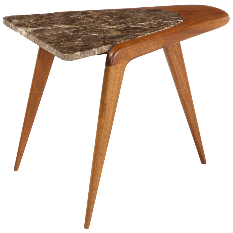 Chaplin End Table in Wood & Stone Offered by Vladimir Kagan Design Group For Sale
